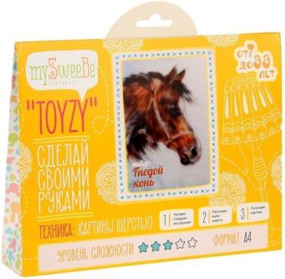 Набор для создания картины шерстью Toyzy Гнедой конь от 7 лет TZ-P001