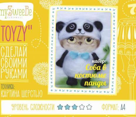 Набор для создания картины шерстью Toyzy Сова в костюме панды от 7 лет TZ-P024