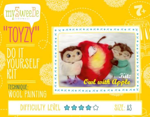 Набор для создания картины шерстью Toyzy Совушки с яблоком от 7 лет TZ-P026