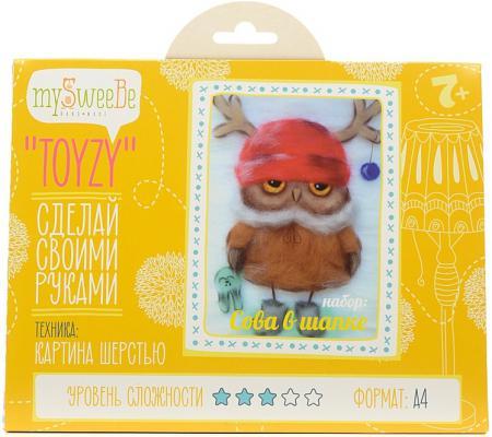 Набор для создания картины шерстью Toyzy Сова в шапке от 7 лет TZ-P028
