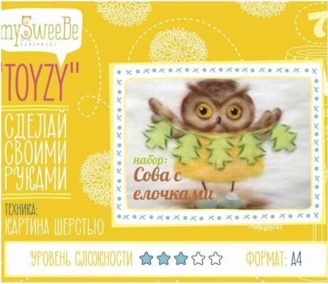 Набор для создания картины шерстью Toyzy Сова с елочками от 7 лет TZ-P029