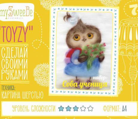 Набор для создания картины шерстью Toyzy Сова ученица от 7 лет TZ-P035