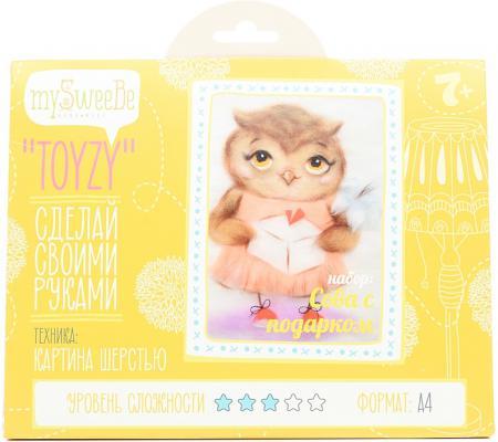 Набор для создания картины шерстью Toyzy Сова с подарком от 7 лет TZ-P032