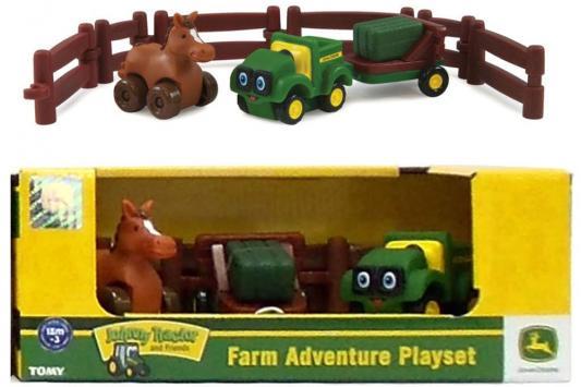 """Игровой набор Tomy """"Приключения трактора Джонни и лошади на ферме"""" 9 предметов 37722-2 tomy прицеп для самосвала big farm bulk tipping trailer цвет зеленый"""