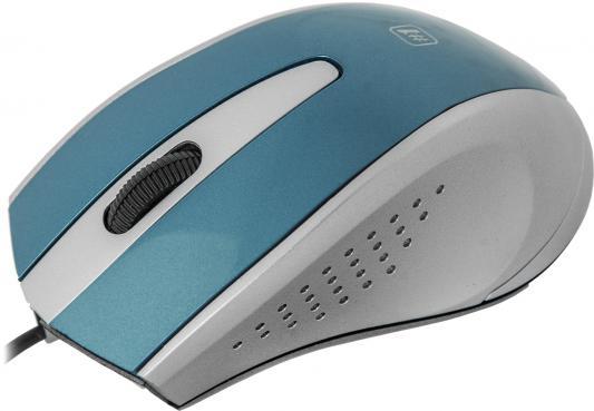 Мышь проводная Defender MM-920 синий серый USB 52920/52921