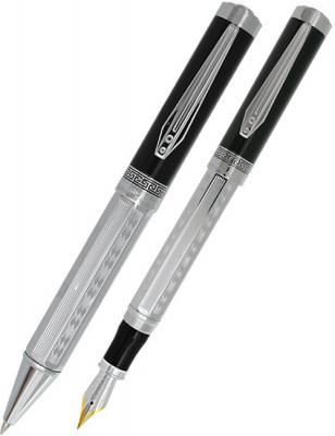 Набор Panteon Перьевая ручка+Шариковая ручка,хромированный рифленый корпус, черный колпачок, хромиро