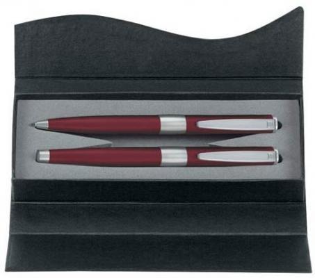 Набор ручек IMAGE, шарик+перьевая, бордовый/серебро, в подарочной у-ке с футляром