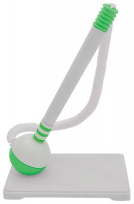 Ручка настольная с подставкой, белый корпус, зеленые детали