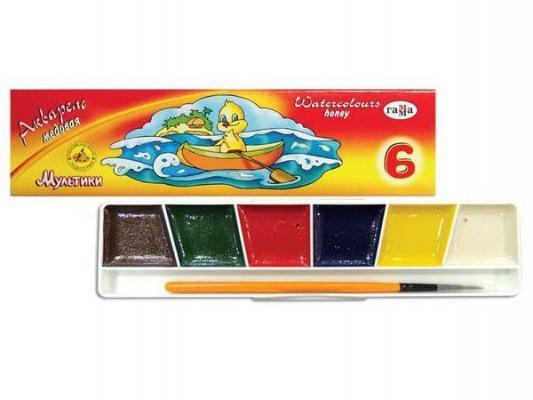 Акварель Гамма МУЛЬТИКИ 6 цветов 211047 краски акварельные гамма мультики 6 цветов