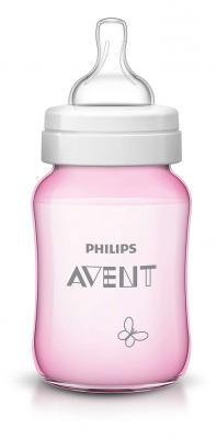 Купить Бутылочка Avent Classic+ Бабочка розовая, Pp, 260 мл, сил. соска, медл. поток, 0+, 1 шт., арт. 80035, розовый, для девочки, Бутылочки для кормления
