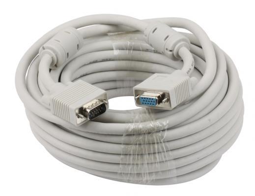 Кабель удлинитель VGA 10.0м Gembird Premium ферритовые кольца серый CC-PPVGAX-10M кабель удлинитель vga 3 0м gembird vga ext 2 фильтра cc pvgax 10 e vga x l 3 05м