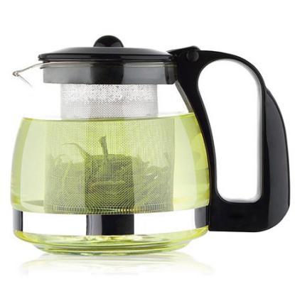 Чайник заварочный Wellberg WB-6879 чёрный прозрачный 1.2 л стекло