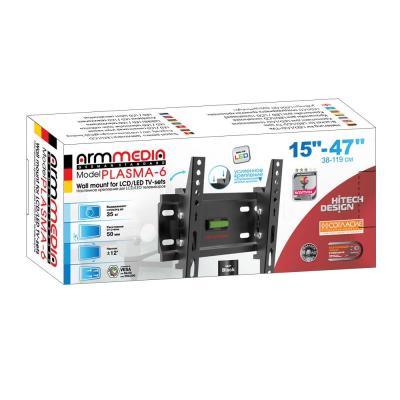 "Кронштейн ARM Media PLASMA-6 new для LED/LCD ТВ 15""-47"" настенный 1 ст свободы от стены 26мм VESA 100x200 до 35кг все цены"