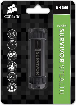 Флешка USB 64Gb Corsair Survivor Stealth CMFSS3B-64GB черный флешка usb 64gb pny hook attache fdu64gbhook30 ef черный