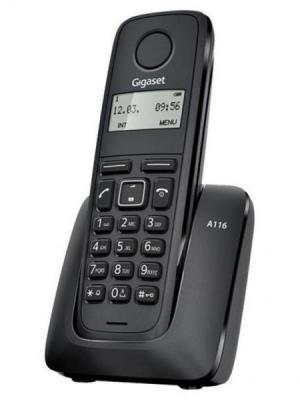 Радиотелефон DECT Gigaset A116 черный серьги из серебра valtera 43080