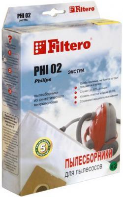 Пылесборник Filtero PHI 02 Экстра пятислойные 2 шт мешок пылесборник filtero phi 03 экстра