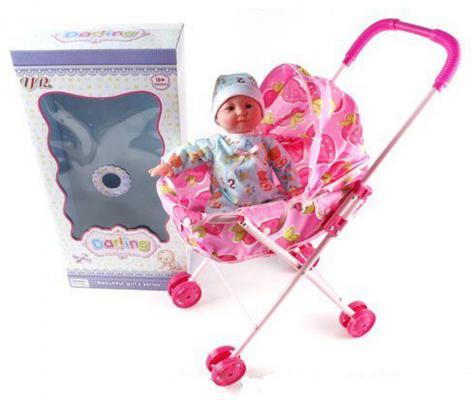Кукла Shantou Gepai Младенец мальчик в коляске 35 см со звуком говорящая