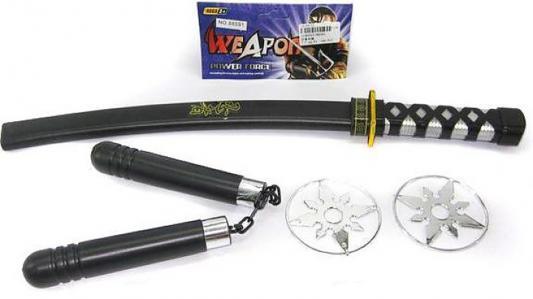 Купить Оружие Shantou Gepai Ниндзя черный серебристый 4 предмета 88591, черный, серебристый, Размер упаковки: 48.5 х 6 х 3 см., для мальчика, Игрушечное оружие