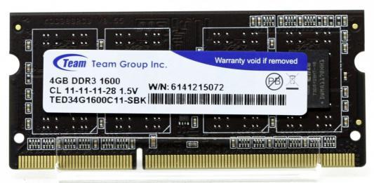 Оперативная память для ноутбуков SO-DDR3 4Gb PC4-12800 1600MHz Team Group TED34G1600C11-S01