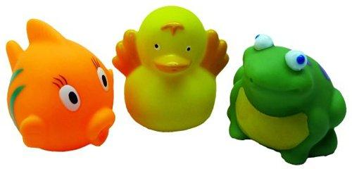 Набор игрушек для ванны Жирафики Рыбка, утенок и лягушонок 68861 игрушки для ванны жирафики набор игрушек для ванны роботы