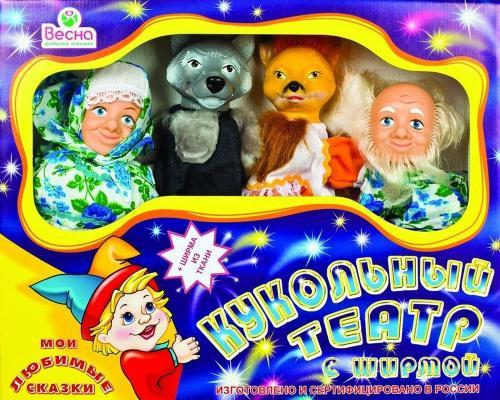 Кукольный театр Весна 4 персонажа с ширмой №1 5 предметов В2928