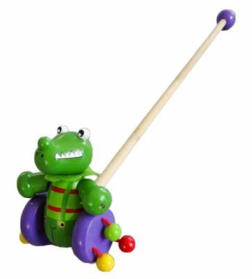 Каталка на палочке Mapacha Динозаврик пластик от 1 года с ручкой зеленый KID 76424 каталка на шнурке mapacha божья коровка полесье от 1 года красный пластик на колесах