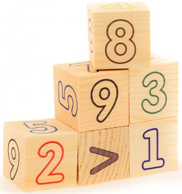 Кубики Русские деревянные игрушки Цифры и счет от 3 лет 6 шт Д490а развивающие деревянные игрушки кубики животные