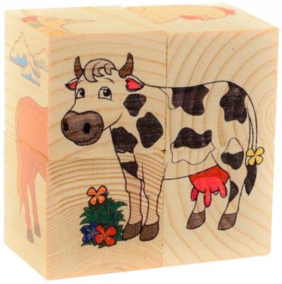 """Кубики Русские деревянные игрушки """"Домашние животные"""" от 1 года 4 шт Д480а"""