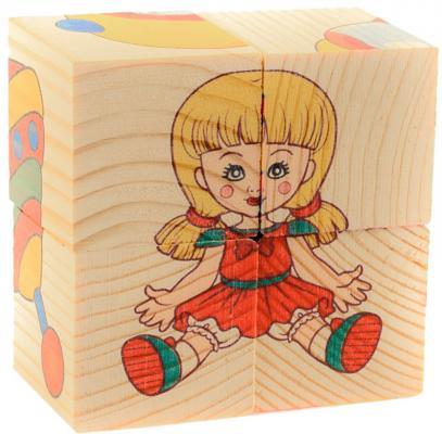Кубики Русские деревянные игрушки Игрушки Д482а от 1 года 4 шт деревянные игрушки теремок кубики веселый счет 12 шт