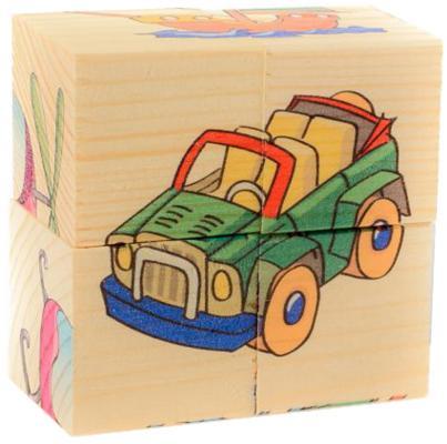 Кубики Русские деревянные игрушки Транспорт от 1 года 4 шт Д483а