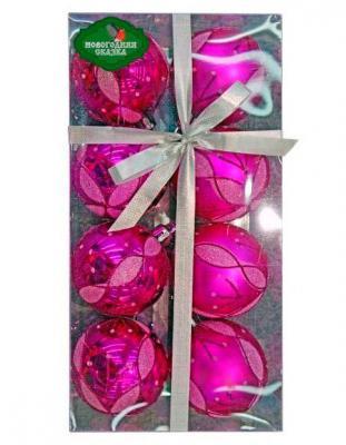 Набор шаров Новогодняя сказка 6927029723526 розовый 6 см 8 шт пластик