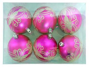 Елочные украшения Новогодняя сказка Шарики розовый 8 см 6 шт пластик