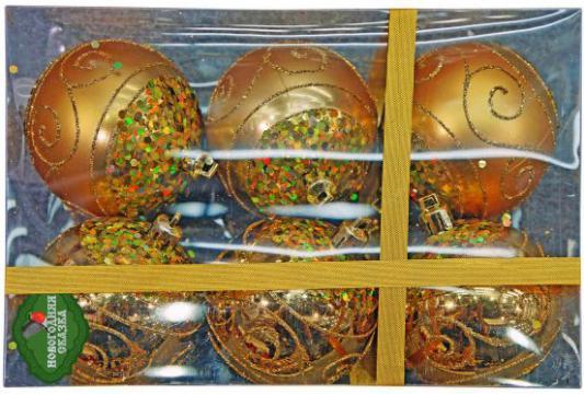 Набор шаров Новогодняя сказка 7 см, 6 шт., золото