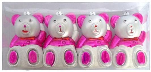 Елочные украшения Новогодняя сказка Мишка розовый 8,5 см 4 шт пластик 97714 елочные украшения ewa eco wood art набор елочных игрушек комплект