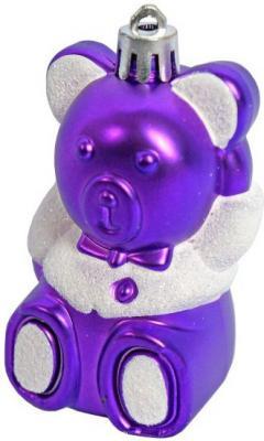 Елочные украшения Новогодняя сказка Мишка фиолетовый 8,5 см 4 шт пластик 97714 фигура новогодняя мишка с венком 39 см