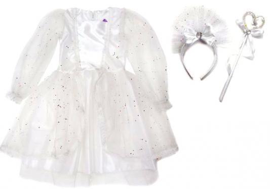 Карнавальный костюм Новогодняя сказка Снежная королева (платье, ободок, палочка) 70 см 972148