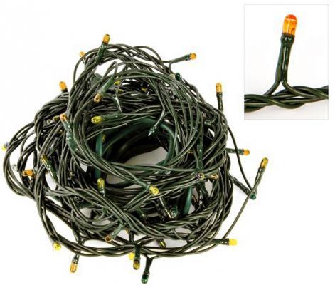 "Гирлянда электрическая Снежинки, 100 мини-ламп ""рис"", желт.свечение, зел.провод, 8 реж. 971560"