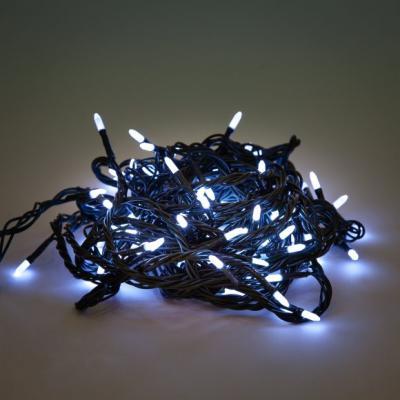Гирлянда электрическая Новогодняя сказка 100 LED, белое свечение, зеленый провод, 8 реж. 971602