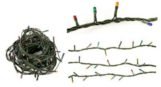 Гирлянда электрическая Новогодняя сказка 100 миниламп рис, цветное свечение, зеленый провод