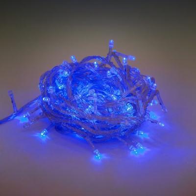 Гирлянда электрическая Новогодняя сказка 100 LED, синего свечения, прозрачный провод 8м, 8 реж., 971028
