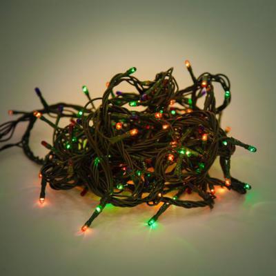 """Гирлянда электрическая Новогодняя сказка 180 микроламп """"рис"""" цветного свечения, зеленый провод 5,5м, 8 режимов"""