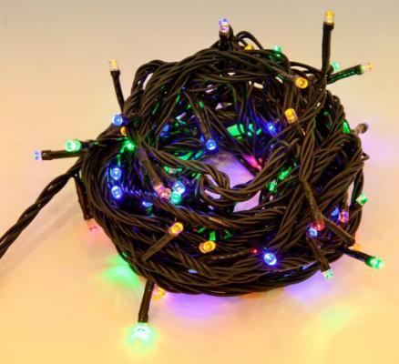Гирлянда электрическая Новогодняя сказка 100 LED, цветного свечения, зеленый провод 8м, 8 режимов 971032