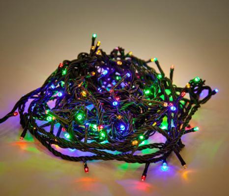 Гирлянда электрическая Новогодняя сказка 140 LED, цветное свечение, зеленый провод 971201