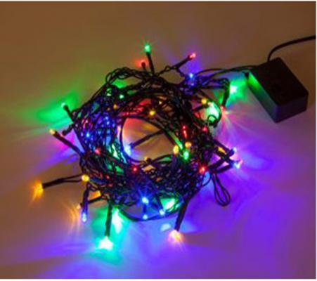 Гирлянда электрическая Новогодняя сказка 60LED Портьера цветного свечения, черный провод 1,6м,8 режимов
