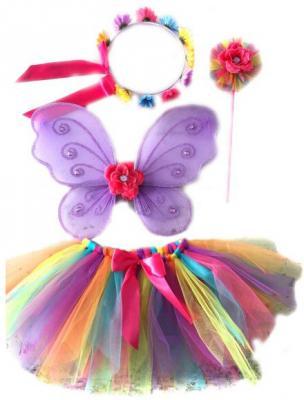 Карнавальный костюм Новогодняя сказка Фея (крылья 38х30 см, юбка 25 см, венок, палочка) от 3 лет 972573