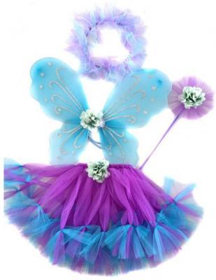 Карнавальный костюм Новогодняя сказка Фея (крылья 47х37 см, юбка 30 см, венок, палочка) от 3 лет 972569