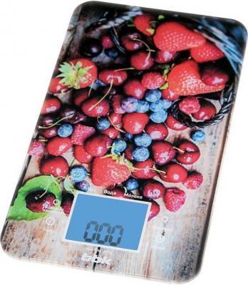 Весы кухонные BBK KS107G синий красный с рисунком весы кухонные bbk ks107g синий красный с рисунком