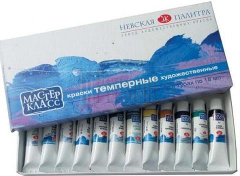 Краски темперные Художественные материалы ПВА МАСТЕР-КЛАСС 12 цветов 1641007