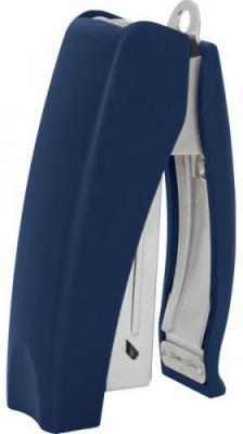 Cтеплер, скоба № 24/6, на 20 листов, вертикальный, прорезиненный корпус, антистеплер, синий