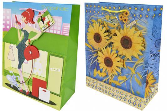 Пакет подарочный бумажный ламинированный, 260х324х127 мм, с блестящей крошкой, с аппликацией пакет подарочный бумажный ламинированный 180х230х98 мм с блестящей крошкой с аппликацией